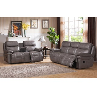 Argo Gray Premium Top Grain Leather Reclining Sofa and Loveseat