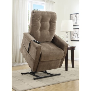 Exel Brown Fabric Power Lift Chair Recliner