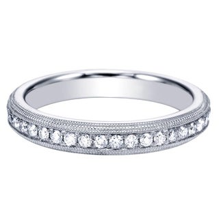 14k White Gold Triple Row Milgrain Wedding Band (H-I, I1-I2)