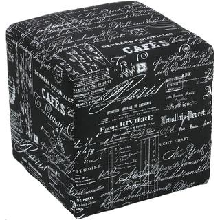 Cortesi Home Braque Black Linen Cube Ottoman