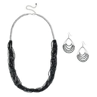 Alexa Starr Antiqued Rhodium-plated Mutli-strand Seed Bead Necklace and Earrings Set