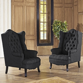 Baxton Studio Norwood Grey Fabric Upholstered Wing Back Accent Chair with Button Tufting
