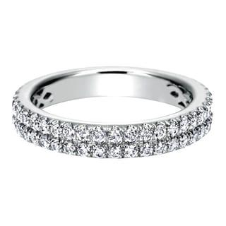 14k White Gold 3/4ct TDW Diamond Double Row Wedding Band (H-I, I1-I2)