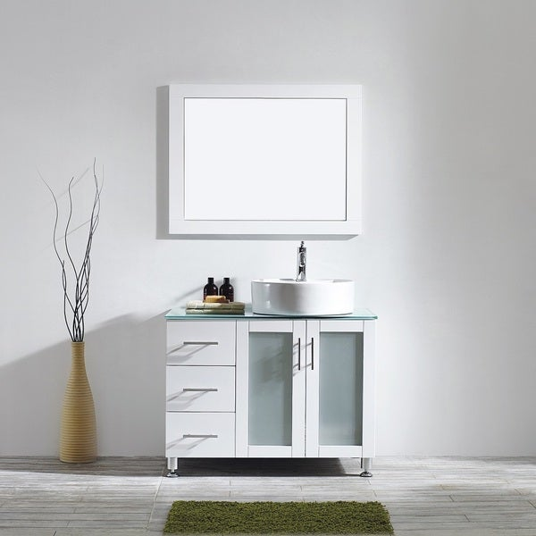 Vinnova Tuscany Six Inch White Single Vanity With White Vessel Sink Glass Countertop And Mirror