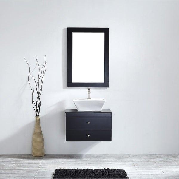 Ravenna 24-inch Espresso Single Vanity with White Vessel Sink, Black ...