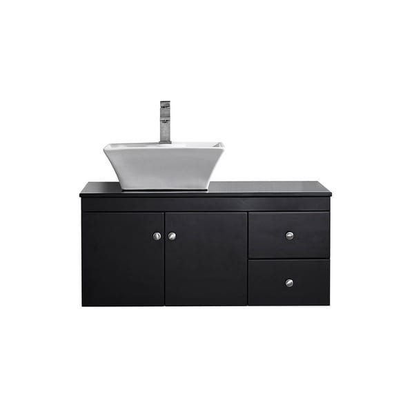 Vinnova Ravenna Six Inch Single Espresso Mirrorless Vanity With Carrera White Vessel Sink And