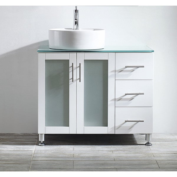 ... Vanity in White with White Vessel Sink with Glass Countertop without