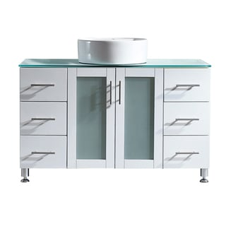 """Tuscany 48"""" Single Vanity in White with Carrera White Vessel Sink with Glass Countertop without Mirror"""