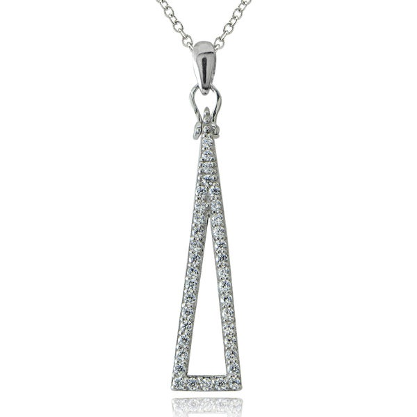 ICZ Stonez Sterling Silver Cubic Zirconia Skinny Triangle Necklace