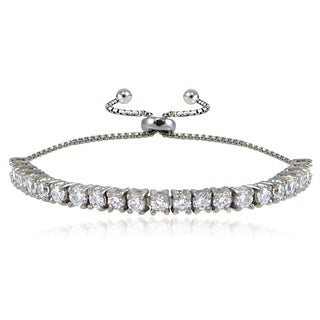 ICZ Stonez Sterling Silver Cubic Zirconia Adjustable Pull-String Bracelet