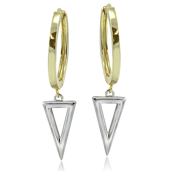 Mondevio Sterling Silver Two-Tone Triangle Drop Hoop Earrings
