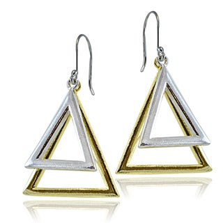 Mondevio Sterling Silver Two-Tone Doublle Triangle Dangle Earrings