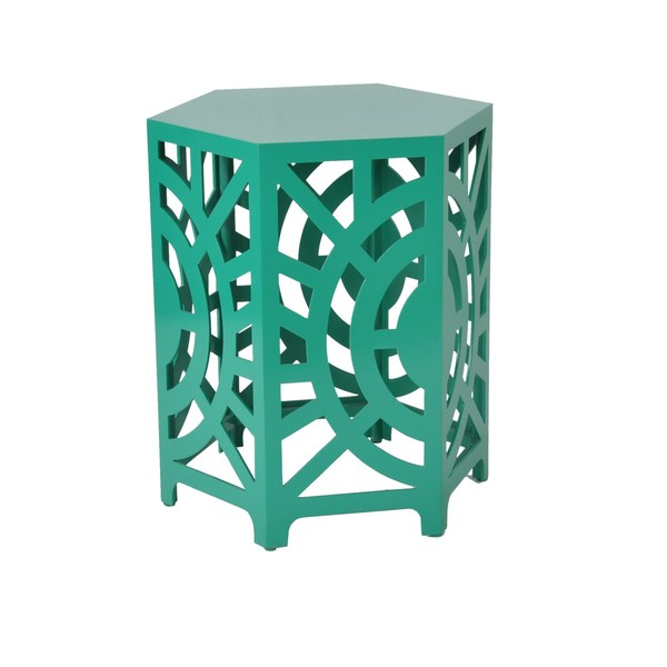 Artisan Hexagon Cut Out End Table