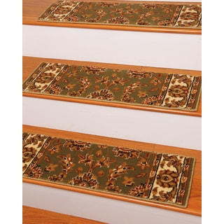 Handcrafted Sydney Carpet Olive Stair Treads ('9 x 2'5) (Set of 13)