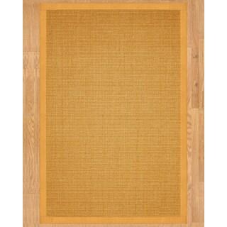Handcrafted Small Boucle Sisal Tan Rug (6' x 9')