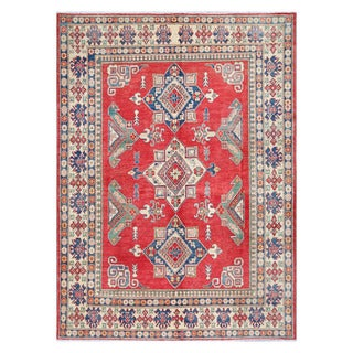 Herat Oriental Afghan Hand-knotted Tribal Vegetable Dye Kazak Red/ Ivory Wool Rug (7'2 x 9'11)