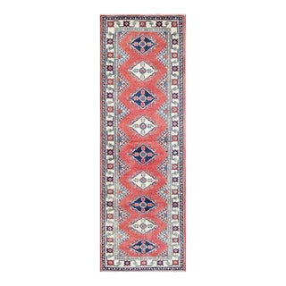Herat Oriental Afghan Hand-knotted Tribal Vegetable Dye Kazak Red/ Ivory Wool Rug (3' x 9'2)