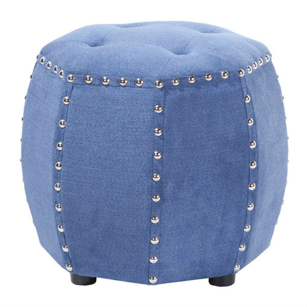 Brianna Polyester Blue Ottoman with Nailhead Trim