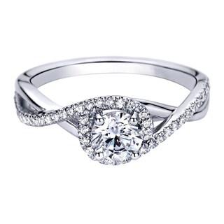 14k White Gold 1/4ct TDW Diamond and Cubic Zirconia Crisscross Halo Engagement Ring (H-I, I1-I2)