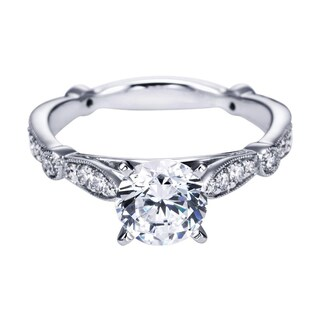 14k White Gold 1/3ct TDW Diamond and Cubic Zirconia Carved Engagement Ring (H-I, I1-I2)