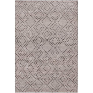 Hand-knotted Moroccan Beni Ourain Double Diamond Wool Dark Grey Rug (6' x9')
