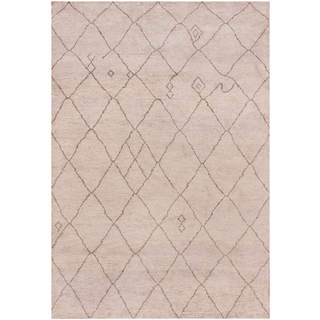 Hand-knotted Moroccan Beni Ourain Miya Wool Silver Rug (6' x9')