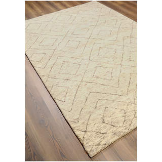 Hand-knotted Moroccan Beni Ourain Double Diamond Wool Natural Rug (6' x9')