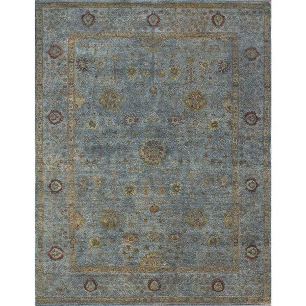 Hand-knotted Overdyed Dark Grey Rug