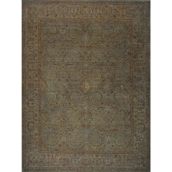 Hand-knotted Overdyed Grey Rug