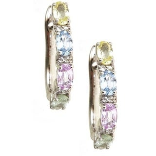 Anika and August Sterling Silver Multi-colored Oval Sapphire Hoop Earrings