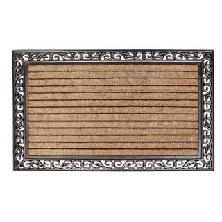 Rubber And Coir Molded Large Double Door Mat, Striped Coir