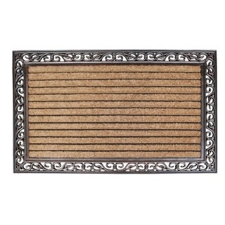 "Rubber and Coir Molded Hand Finished Large Double Door Mat, Striped Coir (30"" X 48"")"