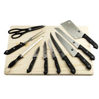 Deluxe Kitchen Knife Set with Natural Wood Cutting Board 10-piece Set