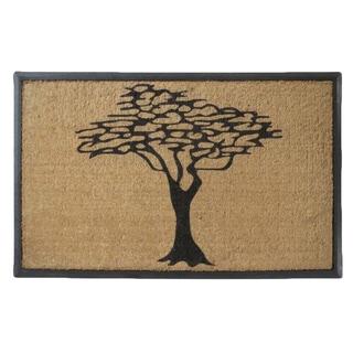 Rubber and Coir Double Doormat, Modern Tree Design