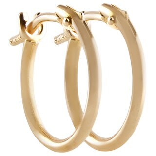 14k Yellow Gold 2x10mm Circle Hoop Earrings