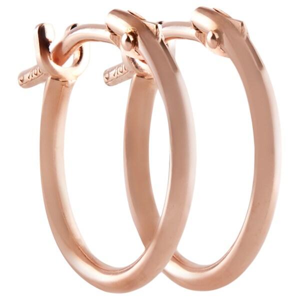 10k Rose Gold 2x10mm Circle Hoop Earrings