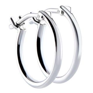 18k White Gold 2x10mm Circle Hoop Earrings