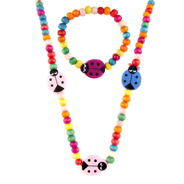 Riley's Little Girl Wooden Lady Bug Jewelry Set