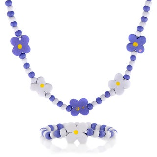 Purple Wooden Flower Necklace and Bracelet Set