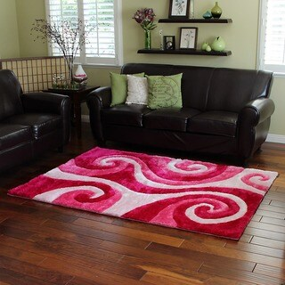 Abstract Swirl Pink Shag Area Rug (5' x 7')