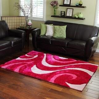 Abstract Wavy Pink Shag Area Rug (5' x 7')
