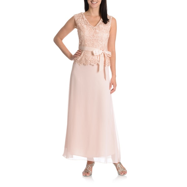 Patra Women's Sheer Yoke Sleeveless Scoop Neck Lace Bodice Ribbon Belted Evening Gown