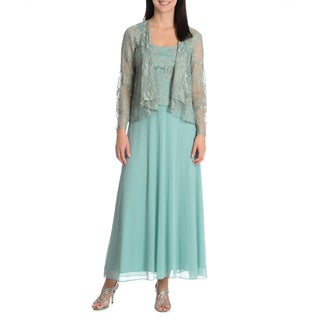 Patra Women's 2-piece Evening Gown with Matching Sheer Cardigan