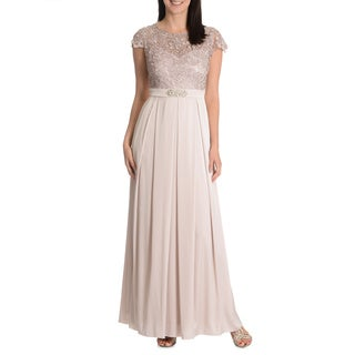 Patra Women's Embellished Waist Pleated Skirt Evening Gown