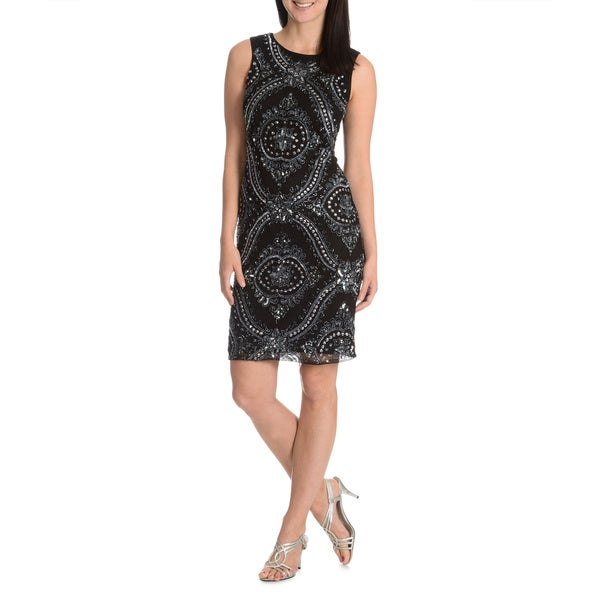 Patra Women's Beaded Mesh Cocktail Dress