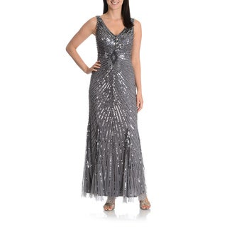 Patra Women's Allover Beaded and Sequined Evening Gown