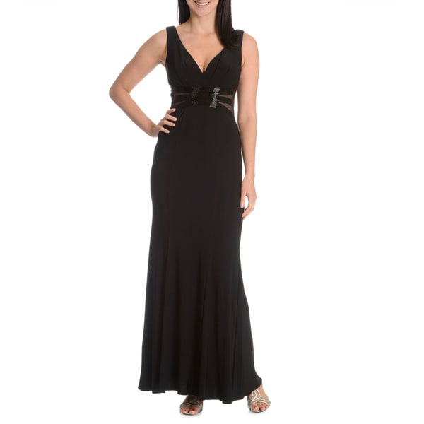 Joanna Chen New York Women's Beaded Illusion Bodice V-Neck Evening Dress