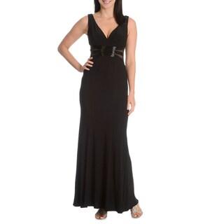 Joanna Chen New York Women's Beaded Illusion Bodice V-Neck Evening Dress