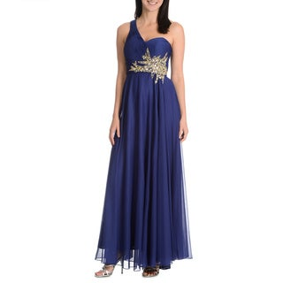 Joanna Chen New York Women's Pleated One-Shoulder Embellished Low Back Cut-Out Gown