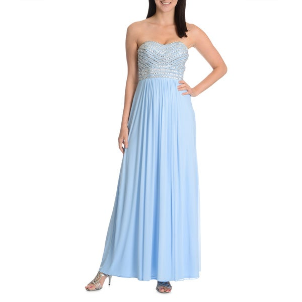 Joanna Chen New York Women's Embellished Sweetheart Lace Up Back Evening Dress